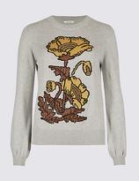 Per Una Pure Cotton Embellished Round Neck Jumper