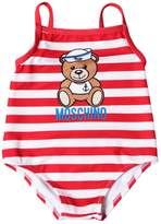 Moschino Striped Print Lycra One Piece Swimsuit