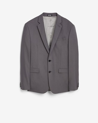 Express Slim Charcoal Textured Cotton-Blend Suit Jacket