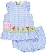 Florence Eiseman Sleeveless Gingham Seersucker Dress w/ Bloomers, Blue, Size 3-24 Months