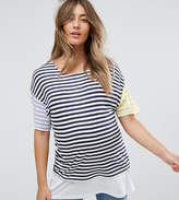 Asos NURSING T-Shirt With Double Layer in Multi Stripe