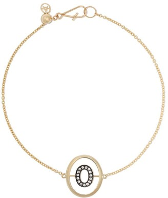 Annoushka 18kt yellow gold diamond initial O bracelet