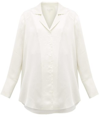 story. White Biennale Exaggerated-cuff Satin Shirt - Womens - Ivory