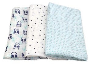 Mac & Moon Mac and Moon 3-Pack Panda Print Muslin Swaddles