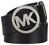 Michael Kors Logo Plaque Leather Belt