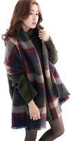 Moonpin Women's Classic Big Grid Warm Blanket Shawl Scarf
