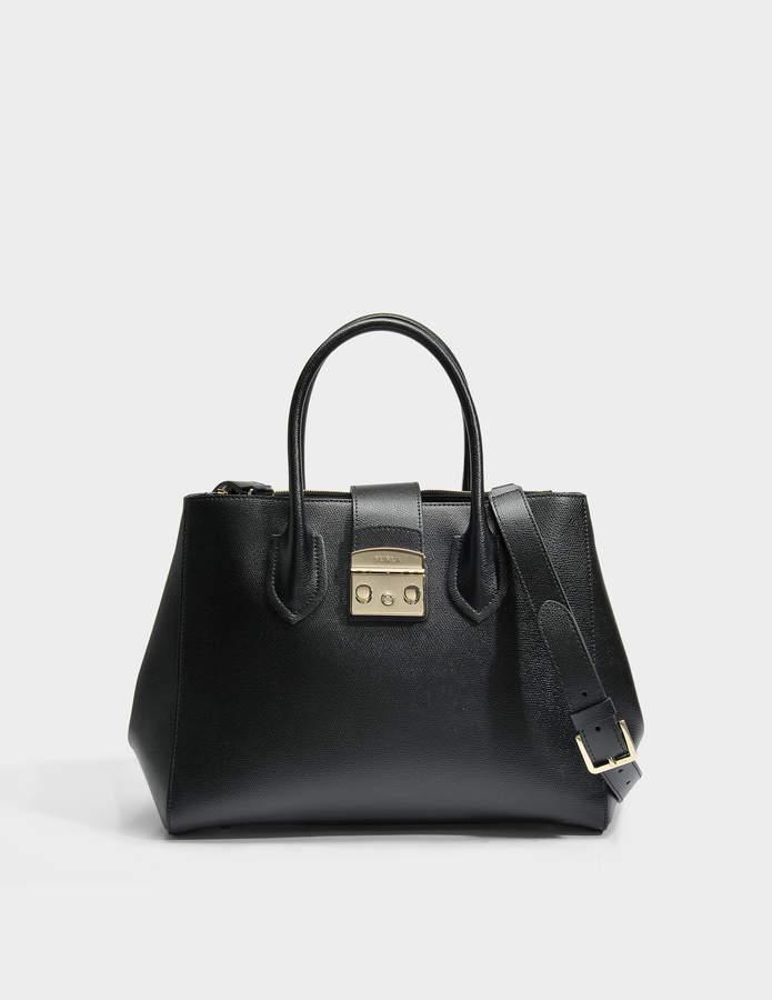 Furla Metropolis Medium Tote Bag in Onyx Ares Leather