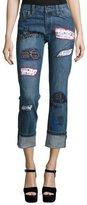 Alice + Olivia Hanna Distressed Patchwork Cuffed Jeans