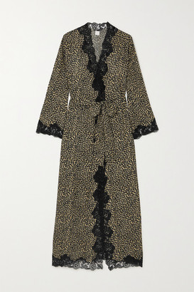 Loretta Caponi Greta Lace-trimmed Leopard-print Silk-georgette Robe - Gold