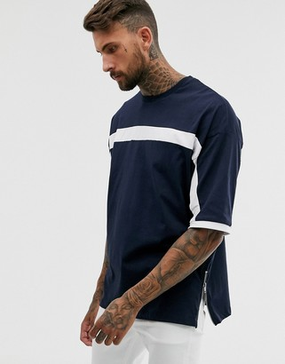 Asos Design DESIGN oversized t-shirt with half sleeve and color block and side zips in navy