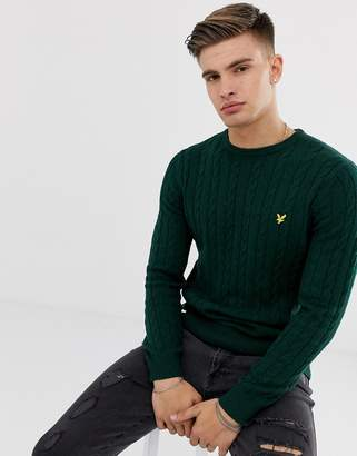 Lyle & Scott cable knit crew neck wool blend jumper in green