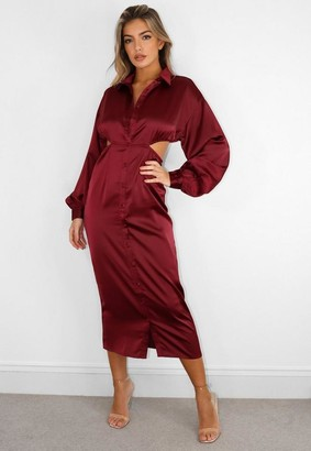 Missguided Burgundy Satin Cut Out Midi Shirt Dress