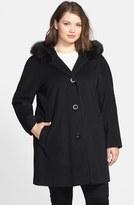 Ellen Tracy Plus Size Women's Kimono Sleeve Jacket With Genuine Fox Fur Trim