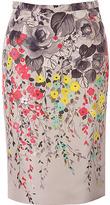 Valentino Cream Multi Color Flower Print Silk Skirt