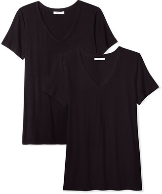 Daily Ritual Women's Standard Jersey Short-Sleeve V-Neck T-Shirt 2-Pack