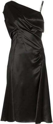 Versace Donna sleeveless one-shoulder silk midi dress