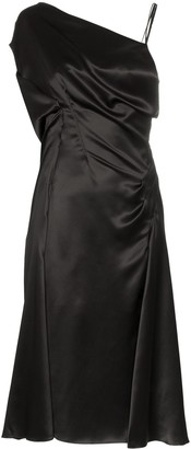 Versace Donna sleeveless one-shoulder silk midi dress