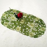QXFSMILE Green Table Runner Embroider Table Flag 13 By 28 Inch