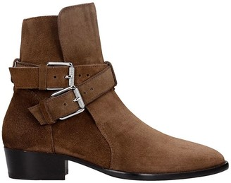 Amiri Buckle Boot Ankle Boots In Brown Suede