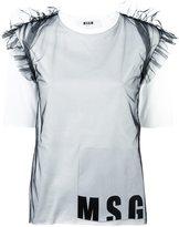MSGM sheer ruffles logo T-shirt