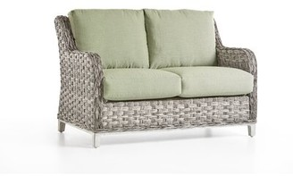 Pool' Highland Dunes Craut Loveseat With Cushions Highland Dunes Cushion Color: Sparkle Pool