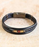 Nautilus Goldtone & Black Embellished Braid Three-Strand Leather Bracelet