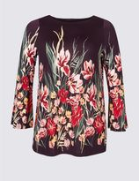 Marks and Spencer PLUS Floral Print Flute Sleeve Tunic