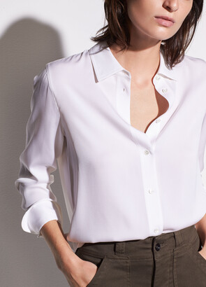 Vince Slim Fitted Stretch-Silk Blouse