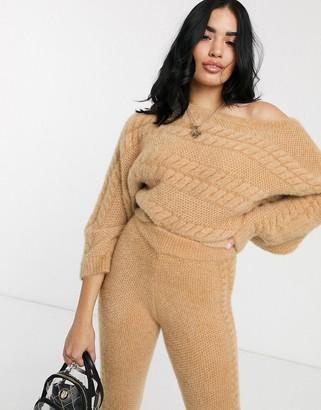 ASOS DESIGN Lounge co-ord off shoulder cable jumper in super fluffy yarn