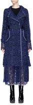 Sacai Buckled belt floral lace coat