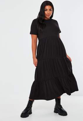 Missguided Plus Size Black Tiered Jersey Midaxi Dress