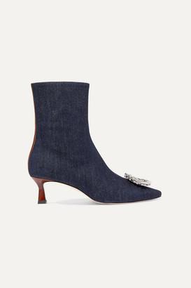 Wandler Bente Crystal-embellished Denim Ankle Boots - Dark denim