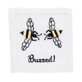 "The Well Appointed House ""Buzzed Bee"" Napkins in Pink by August Morgan - Set of Four - IN STOCK IN GREENWICH FOR QUICK SHIPPING!"