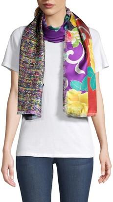 Etro Tweed & Floral-Print Silk Scarf