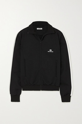 Balenciaga Striped Embroidered Tech-jersey Track Jacket - Black