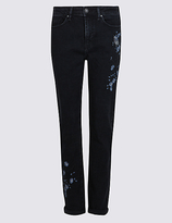 M&S Collection Embroidered Mid Rise Slim Leg Jeans