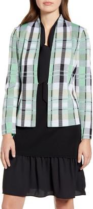 Ming Wang Plaid Jacquard Knit Jacket