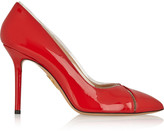 Charlotte Olympia Natalie PVC-trimmed patent-leather pumps