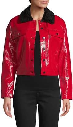 DOLCE CABO Faux Fur-Trim Faux Leather Jacket
