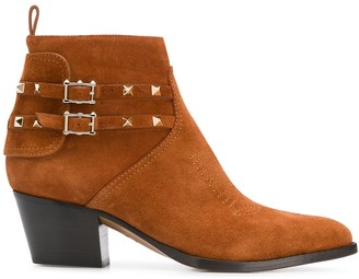 Valentino Rockstud cowboy ankle boots
