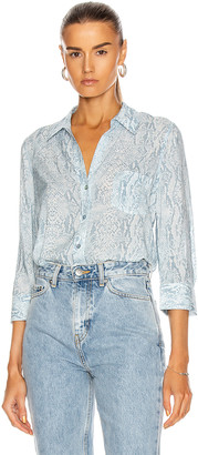 L'Agence Ryan 3/4 Sleeve Blouse in Cool Blue & Ivory | FWRD