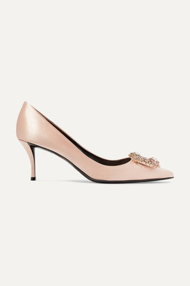 Roger Vivier Flower Crystal-embellished Satin Pumps - Antique rose