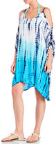 Raviya Cold Shoulder Tie-Dye Pom-Pom Cover-Up