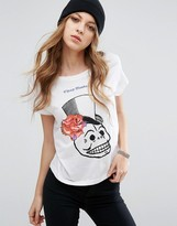 Cheap Monday Floral Skull Logo T-Shirt