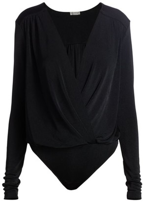 Free People Turnt Surplice-Neck Bodysuit