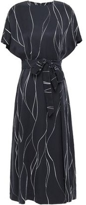 Equipment Chemelle Bow-detailed Printed Washed Silk-blend Midi Dress