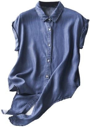 Goodnight Macaroon 'Kamille' Button Down Chambray Tie Bottom Sleeveless Top (2 Colors)