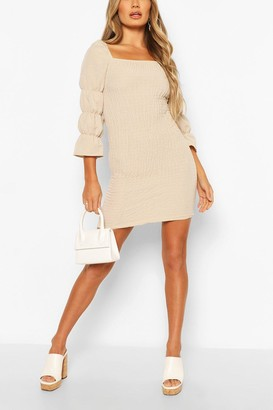 boohoo Linen Look Square Neck Shirred Mini Dress