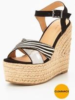 Very Zebra Crossover Leather Wedge Sandal