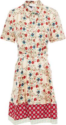 Sandro Ayeon Cutout Printed Silk-twill Mini Shirt Dress